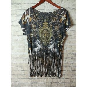 Tops - Cropped fringed top